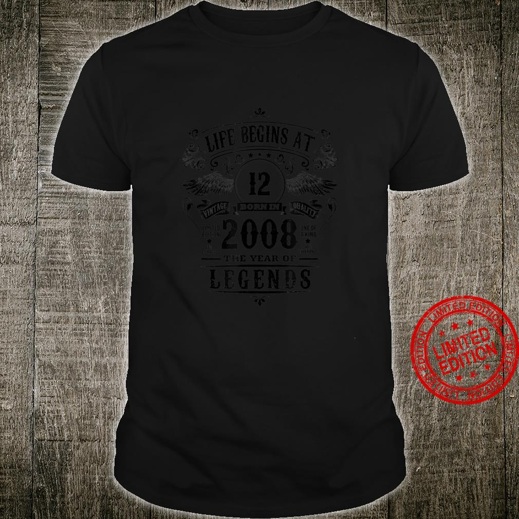 12th Birthday Legend Boys Girl 12 Year Old 2008 Kid Shirt