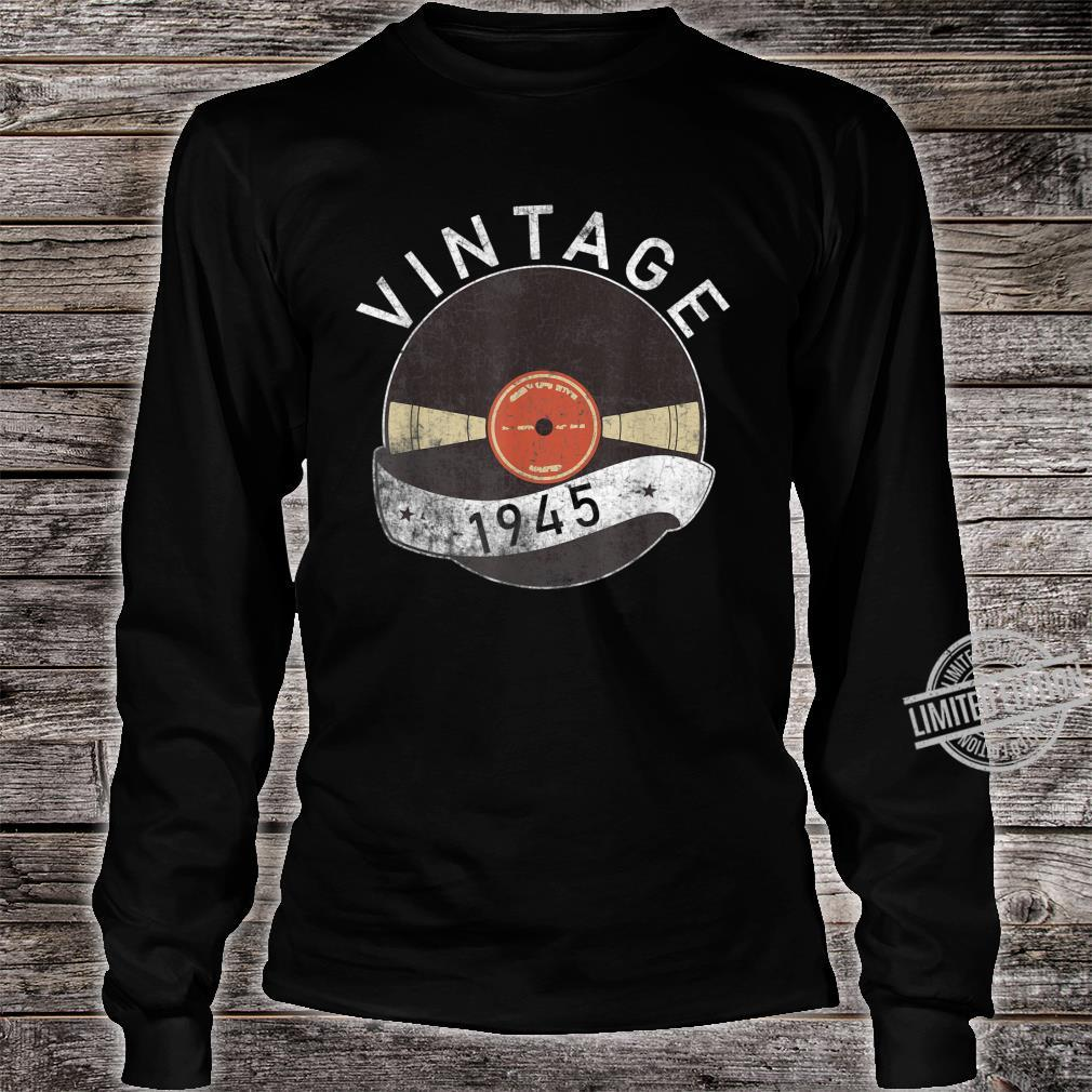 75th Vintage Vinyl 1945 Birthday Retro 75 Years Old Shirt long sleeved