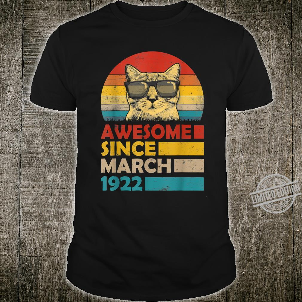 Awesome Since March 1922 98th Birthday Cat Shirt