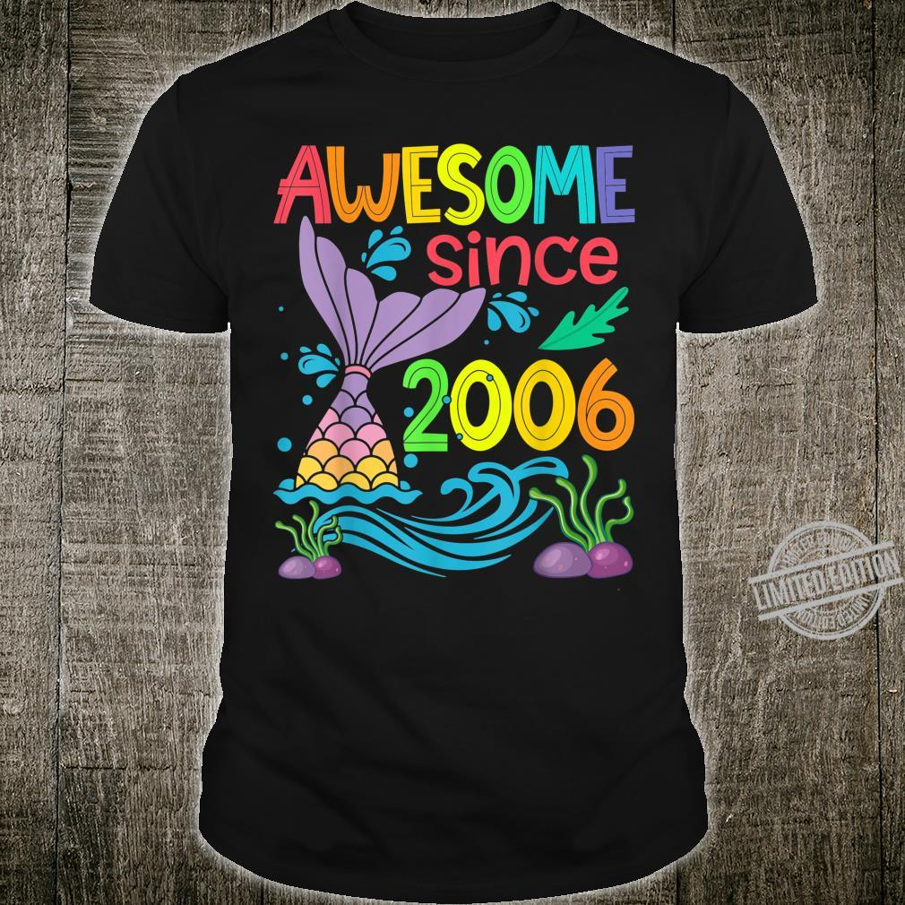 Awesome since 2006 Mermaid 14th Birthday Girls Shirt