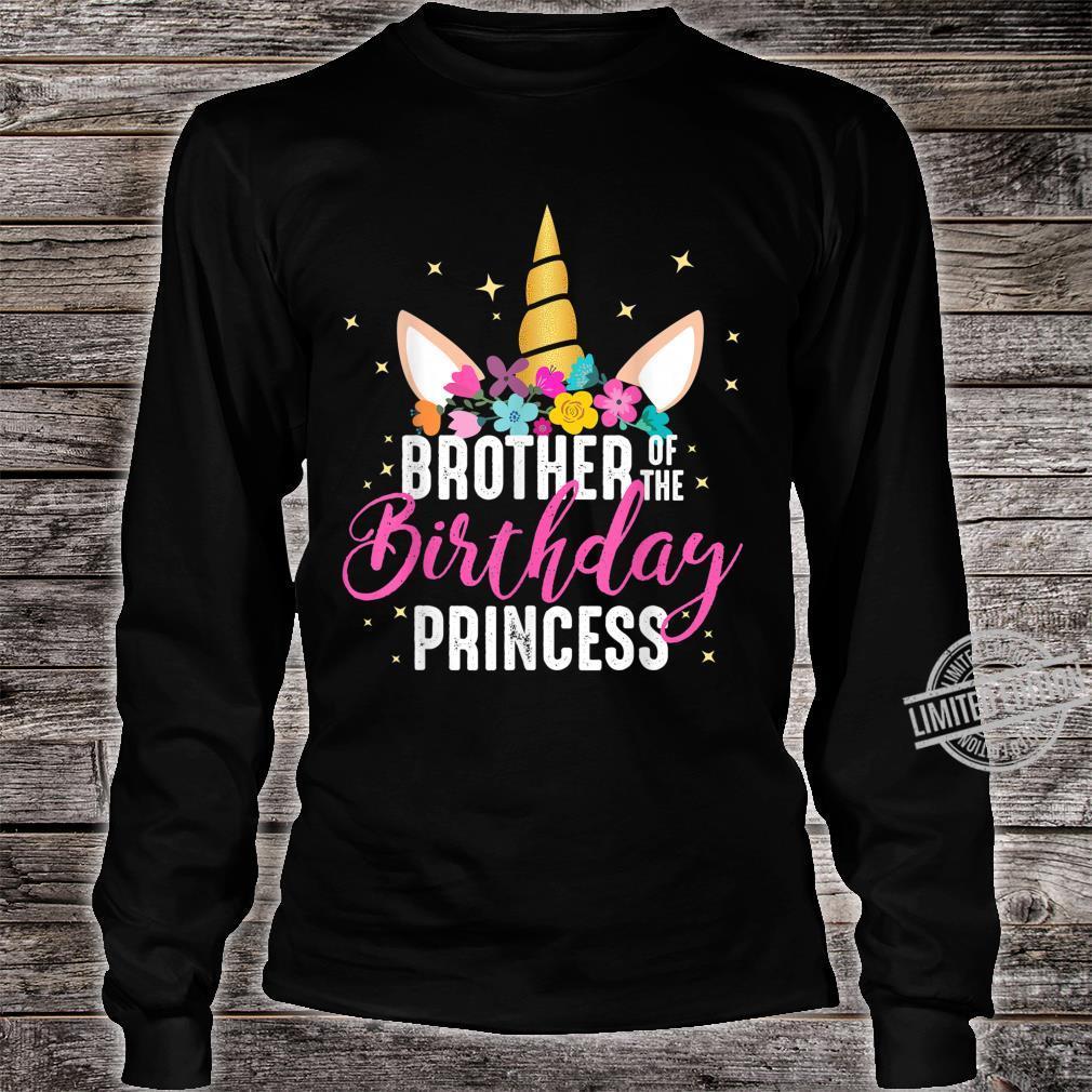 Brother Of The Birthday Princess Unicorn Birthday Shirt long sleeved