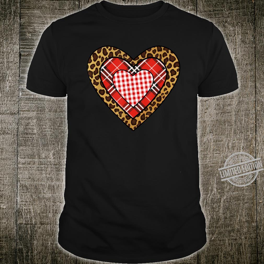 Buffalo Plaid Leopard Hearts I Valentine's Day Shirt