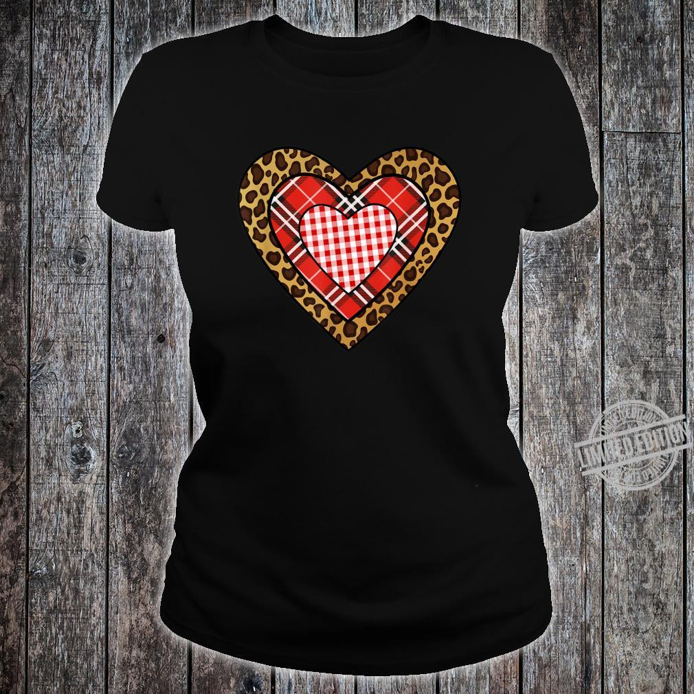 Buffalo Plaid Leopard Hearts I Valentine's Day Shirt ladies tee