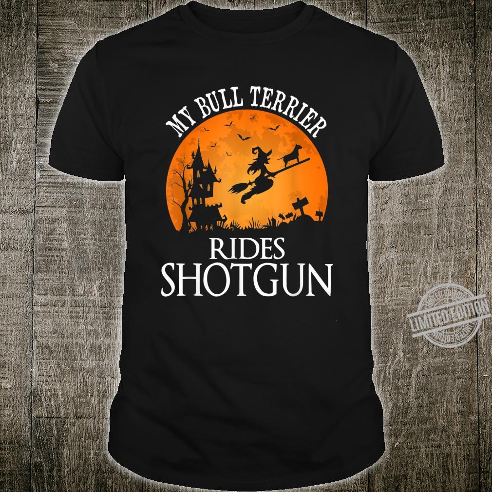 Bull Terrier Rides Shotgun Dog Halloween Party Shirt