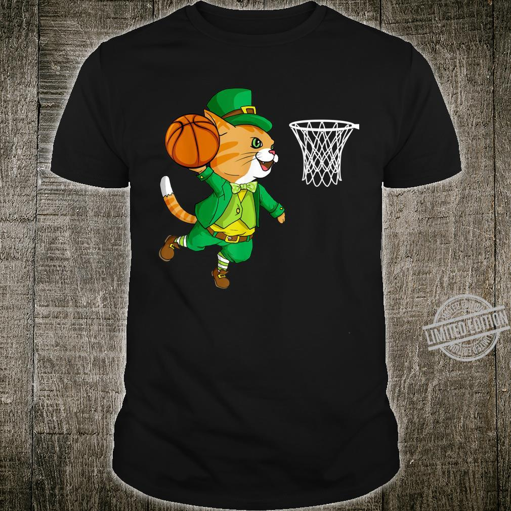 Cat Playing Basketball Leprechaun st Patricks Day Shirt