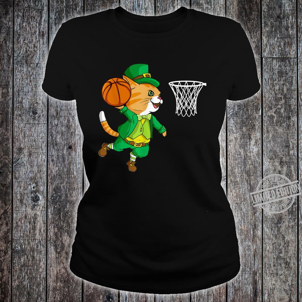 Cat Playing Basketball Leprechaun st Patricks Day Shirt ladies tee