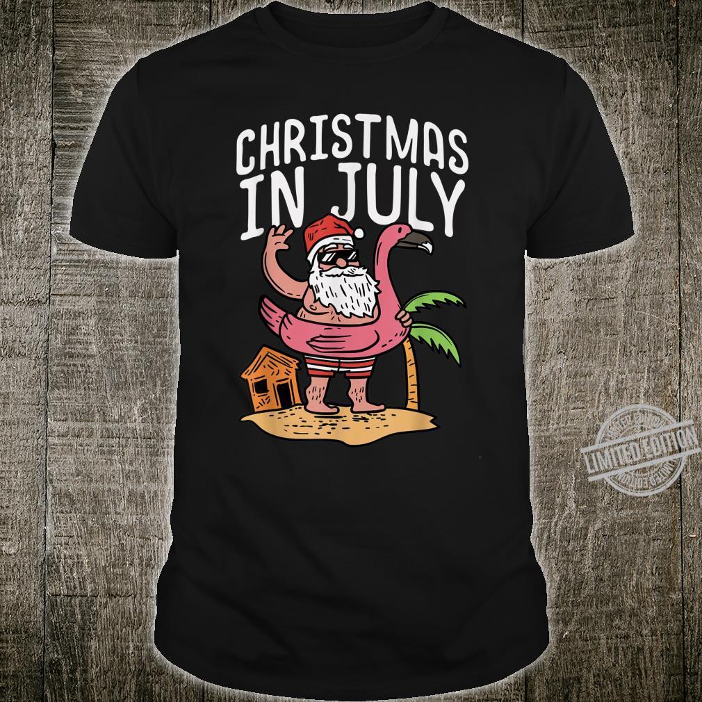 Christmas In July Santa Flamingo Floater Summer Shirt