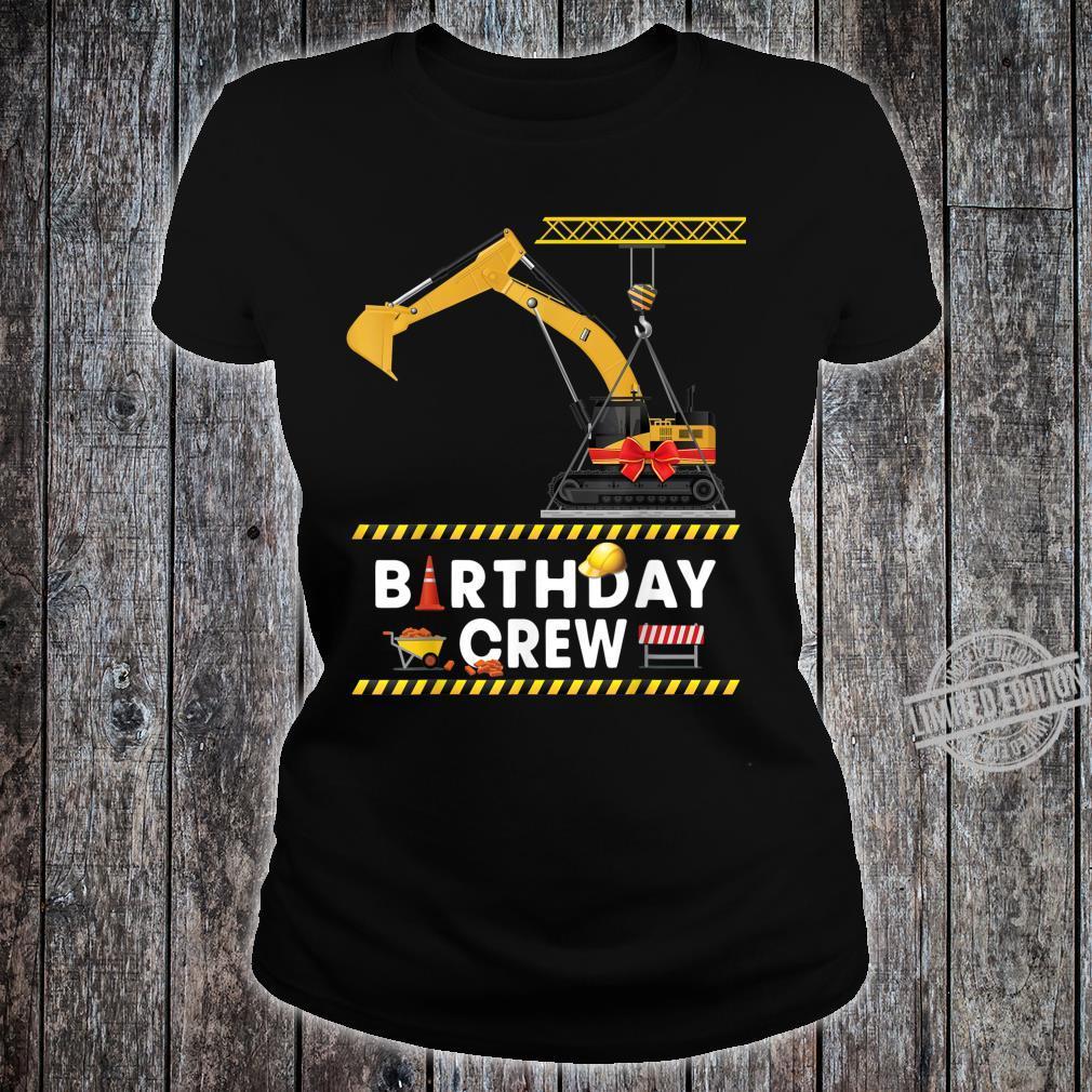 Construction Birthday Crew Boy Excavator Crane Shirt ladies tee