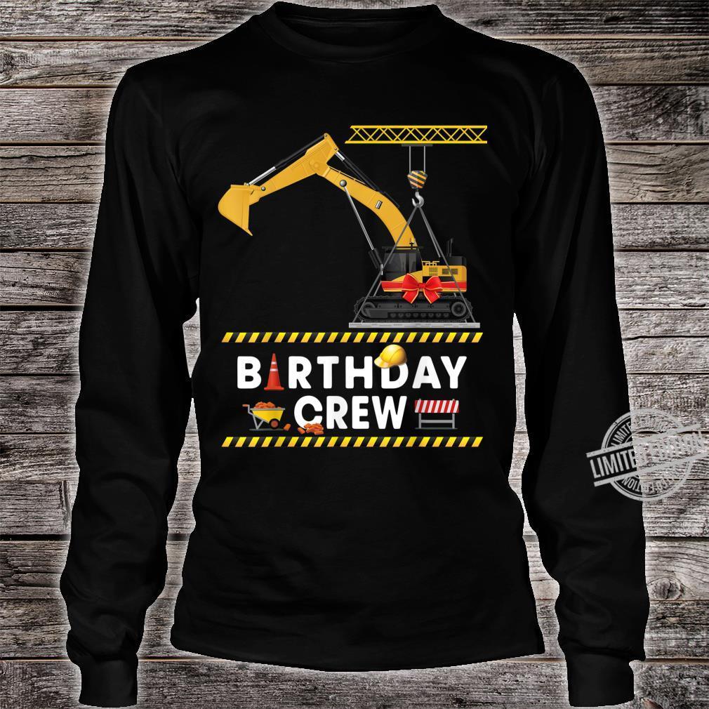 Construction Birthday Crew Boy Excavator Crane Shirt long sleeved