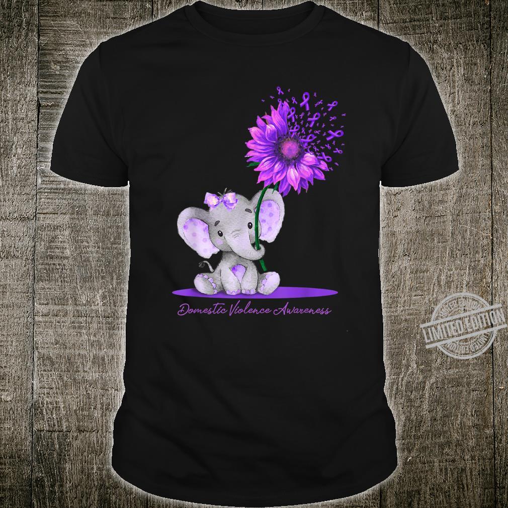 DOMESTIC VIOLENCE AWARENESS Cute Elephant Sunflower Purple Shirt