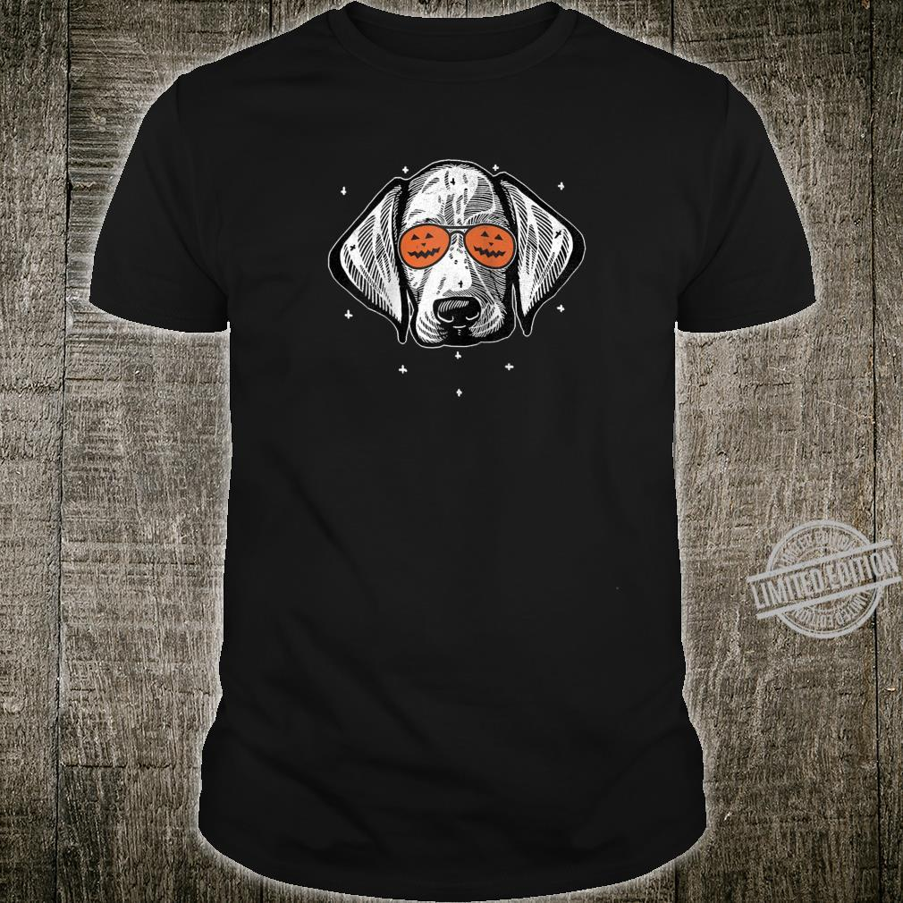Dog Wearing Pumpkin Sunglasses Halloween Weimaraner Shirt