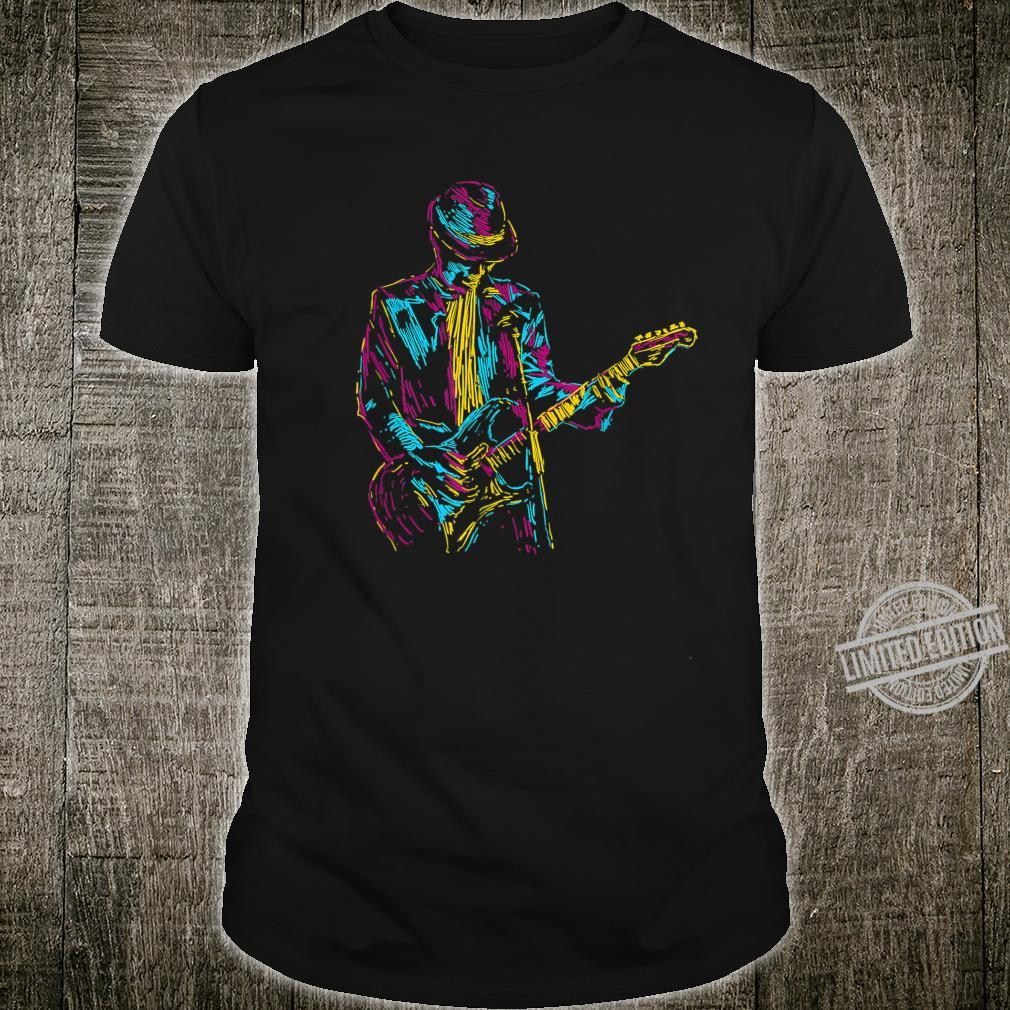 Electric Guitar Player Abstract Art Vintage Jazzs Shirt