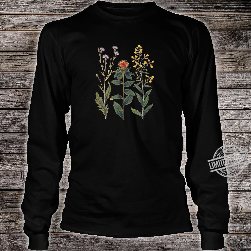 Elegant botanical illustration of wild flowers Shirt long sleeved