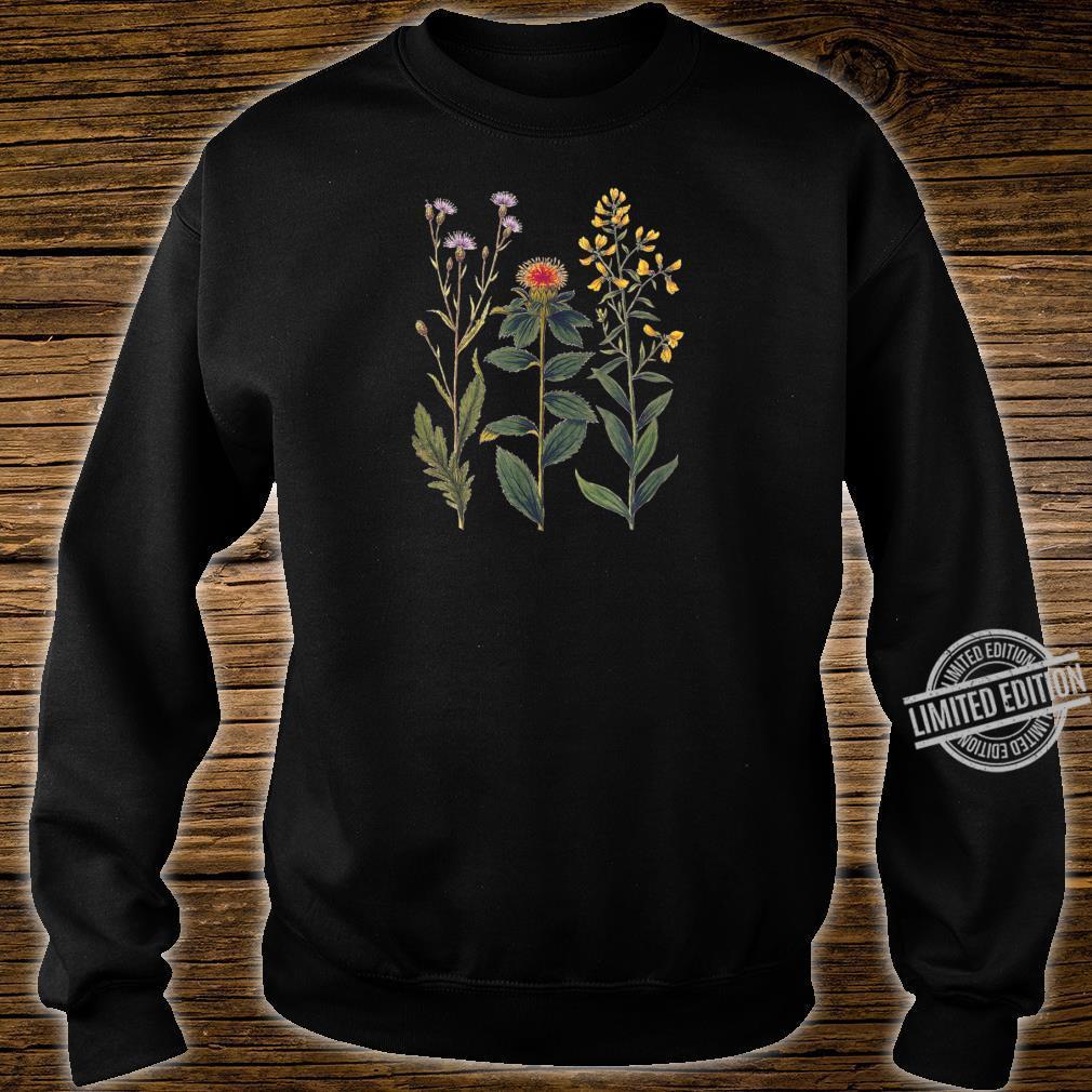 Elegant botanical illustration of wild flowers Shirt sweater