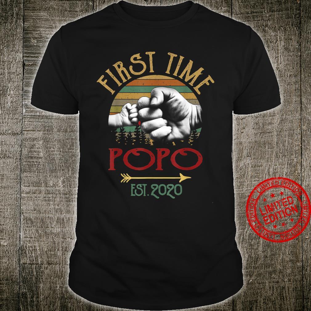 First Time Popo EST 2020 Vintage Christmas Shirt