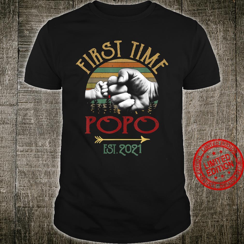 First Time Popo Est 2021 Vintage Christmas Shirt
