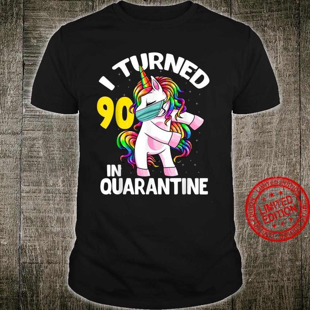 I Turned 90 In Quarantine Flossing Unicorn 90th Birthday Shirt