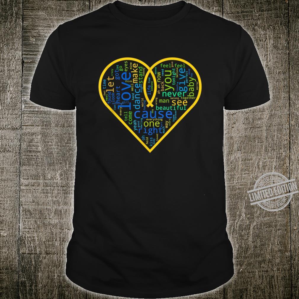 Love Heart Song Words Black White Shirt