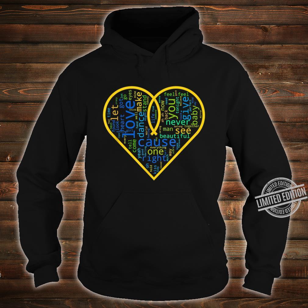 Love Heart Song Words Black White Shirt hoodie