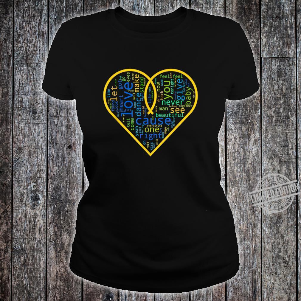 Love Heart Song Words Black White Shirt ladies tee