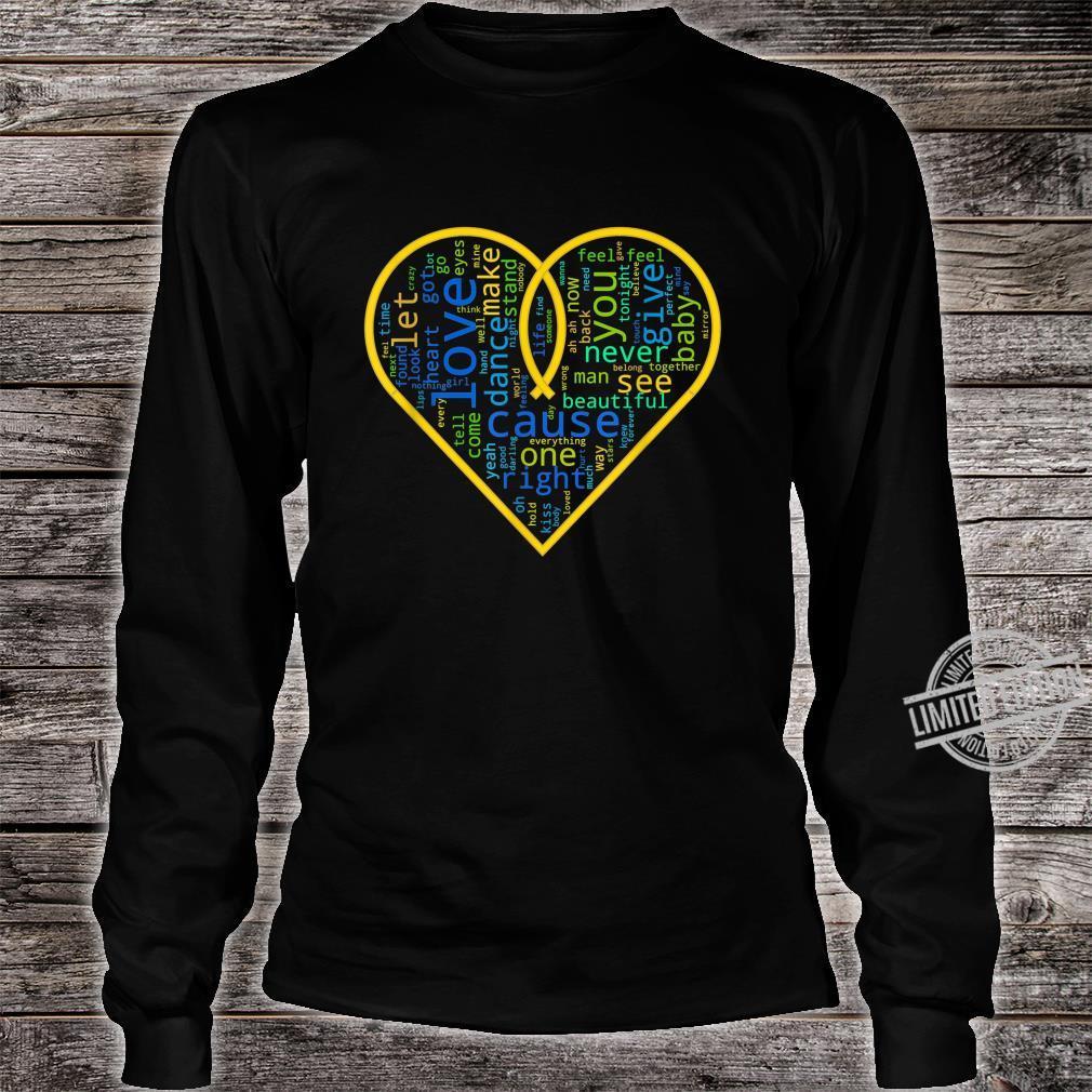 Love Heart Song Words Black White Shirt long sleeved