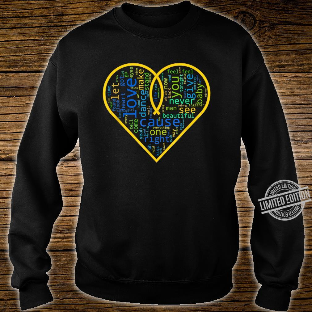 Love Heart Song Words Black White Shirt sweater