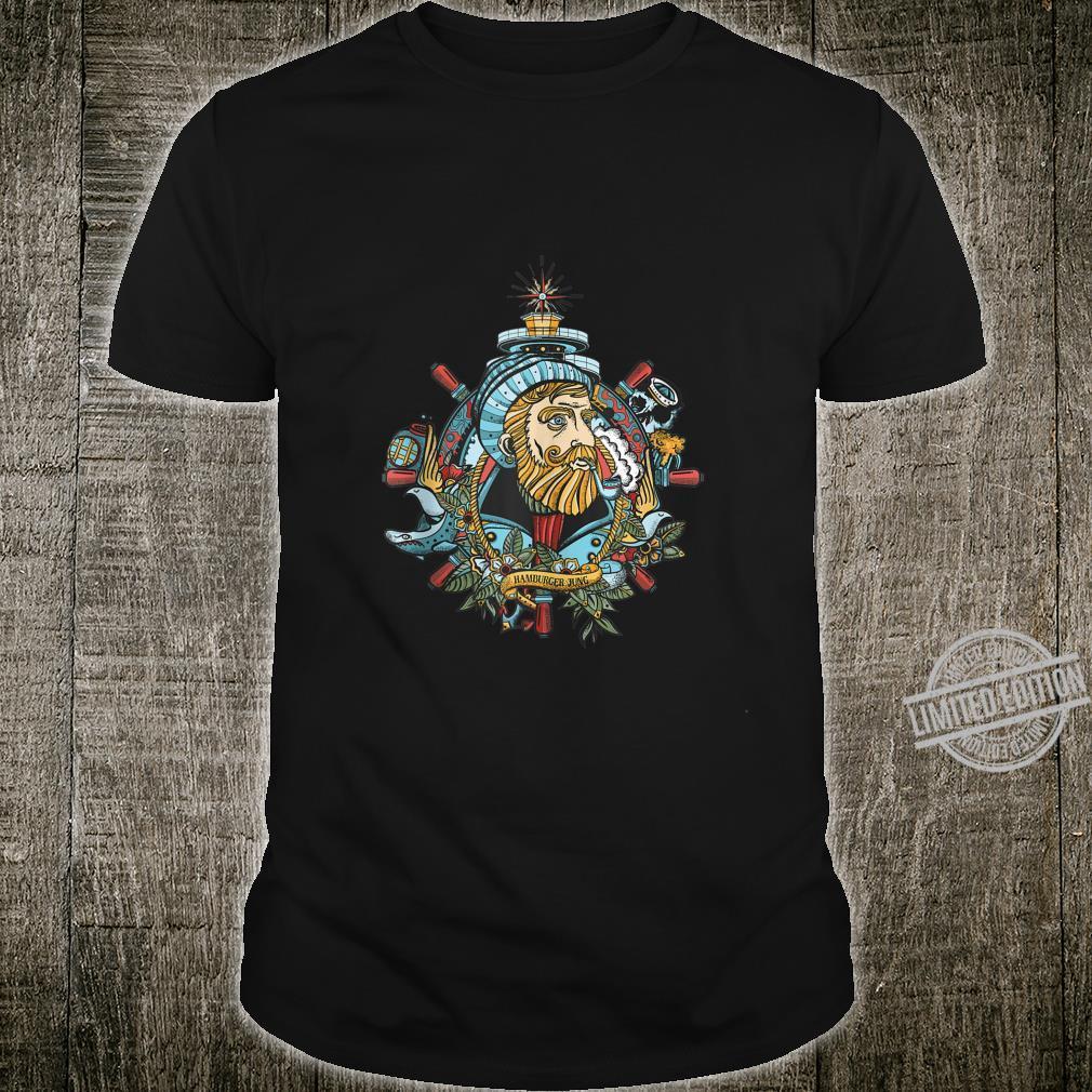 Mens Hamburger Jung Seadog Cool Retro Tattoo Style Shirt