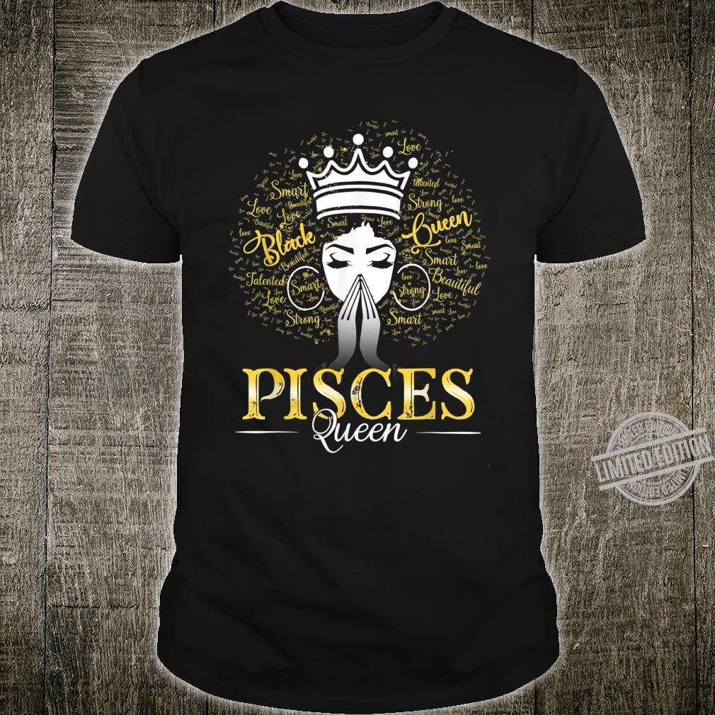 PISCES Queen Black Hair Art March April Birthday Shirt