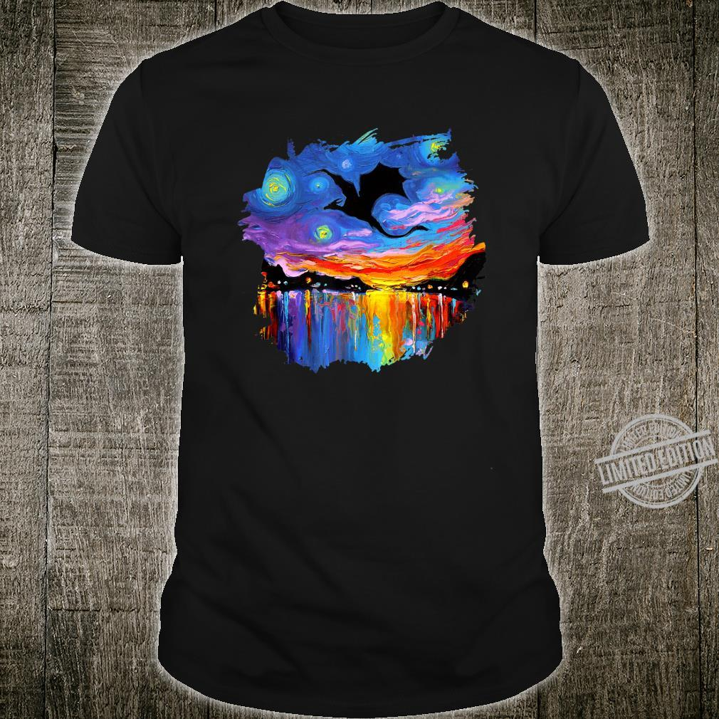 The Guardian Dragon Silhouette Starry Night Art by Aja Shirt