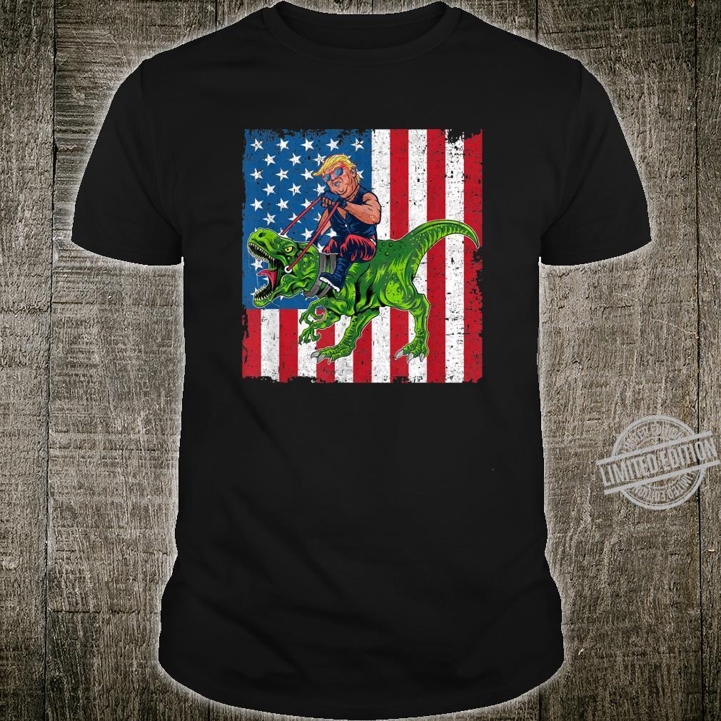 Trump Riding Dinosaur T Rex Vintage Retro American Flag Shirt
