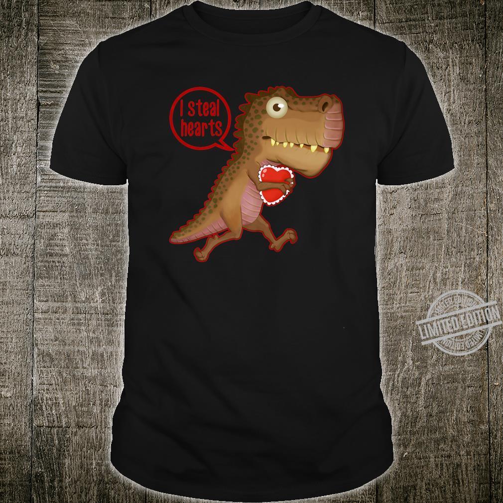 Valentines Day Dinosaur I Steal Hearts Dino TRex Boys Shirt
