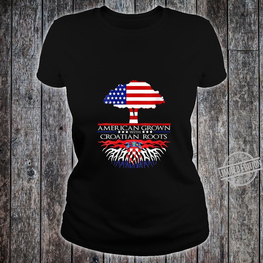 Womens Croatian Roots American Grown US Croatia Eastern European Shirt ladies tee