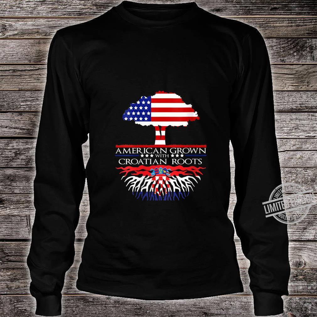 Womens Croatian Roots American Grown US Croatia Eastern European Shirt long sleeved