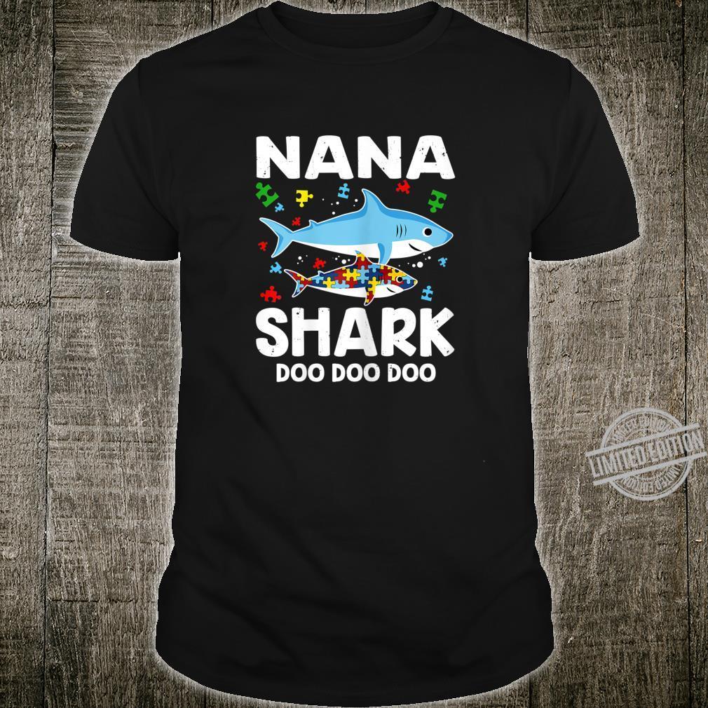 Womens Nana Shark Doo Doo Doo Autism Awareness Shirt Family Shirt