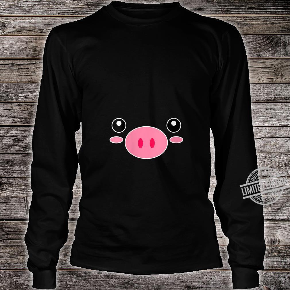 Womens Pig Face Cute Halloween Animal Pig Costume Shirt long sleeved